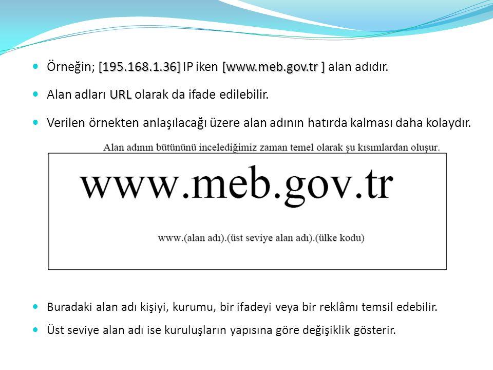 Örneğin; [195.168.1.36] IP iken [www.meb.gov.tr ] alan adıdır.